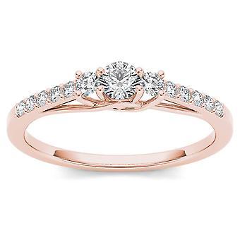 IGI certifié 10 k Ct 0,3 or Rose diamant trois Pierre bague de fiançailles
