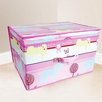 Childrens meisjes roze paarden Design slaapkamer opbergkist vouwen