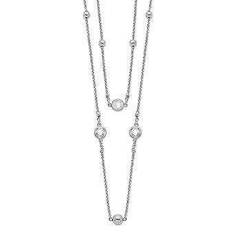 925 εξαιρετικό ασημένιο ρόδιο επιμεταλλωμένα CZ κυβικά Zirconia προσομοιωμένο Diamond 2 σκέλος με 1inch ext. κολιέ 16 ιντσών κοσμήματα