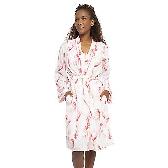 Cyberjammies 4434 Women's Darcie Ivory Off White Fish Print Cotton Short Robe