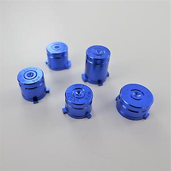 Metal button set for xbox one wireless controller aluminium alloy bullet inc a b x y & guide button - blue | zedlabz