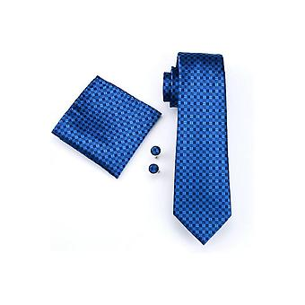 JSS Mens Dark Blue Check 100% Silk Pocket Square, Cufflink And Tie Set