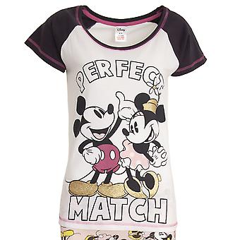 Disney Womens/Ladies Mickey And Minnie Mouse Perfect Match Cotton Pyjama Set