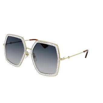 Gucci GG0106S 006 kulta-hopea/harmaa kaltevuus aurinkolasit