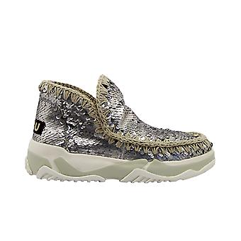 Mou Eskimotrainerall Women's Silver Leather Ankle Boots