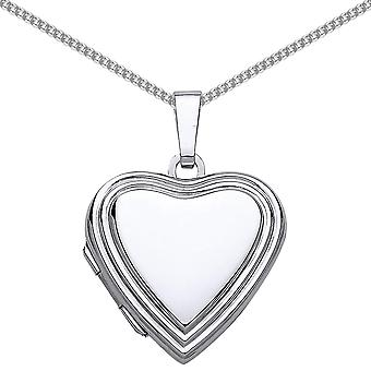 Jewelco London Rhodium Plated Sterling Silver Open Heart Frame Locket Necklace 18 inch