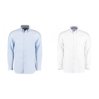 Kustom Kit Mens Clayton & Ford Contrast Long Sleeve Shirt