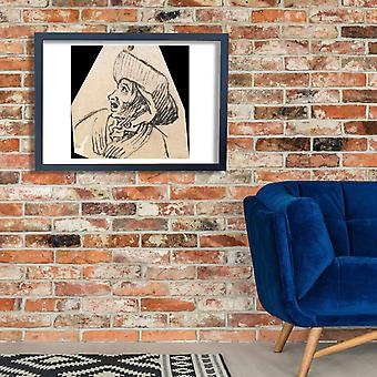 William Hogarth - Grotesque Male Head 2 Poster Print Giclee