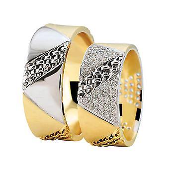 Bicolor wedding rings diagonal torsrings