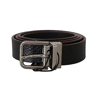 Dolce & Gabbana Belt Black Leather Patterned Silver Buckle -- Box2096880