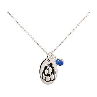 Penguin familie vinter smykker halskjede, safir anheng 925 sølv, gullbelagt, rose