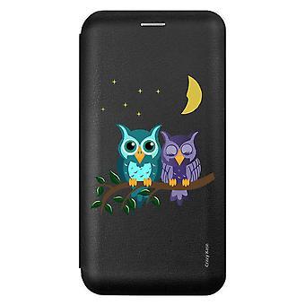 Fall für Samsung Galaxy A51 schwarz Muster Eulen bei Mondschein