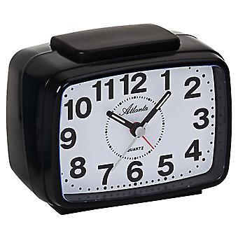 Atlanta 1323/7 Alarm clock quartz analog black quiet without ticking with light snooze
