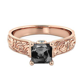 1.06 CTW 14K Rose Gold sorte diamant Ring med diamanter Vintage hånd indgraveret Designer