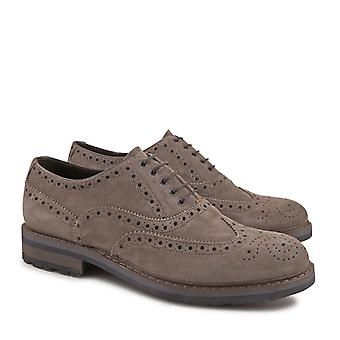 Handmade brogue shoes for men in taupe suede leather