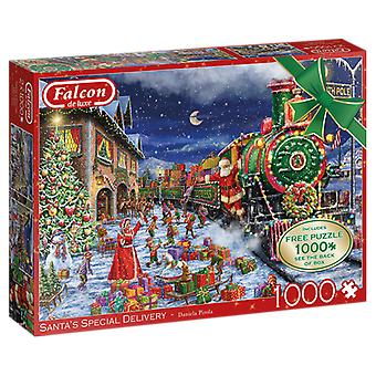 Falcon De Luxe Kerstpuzzel - Santa's Train Journey, 2 X 1000 Piece