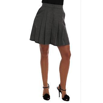 Dolce & Gabbana Gray Wool High Waist Mini Shorts -- SKI1248496
