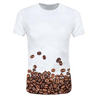 Allthemen 3D cafea bean print scurt maneca T-shirt pentru barbati