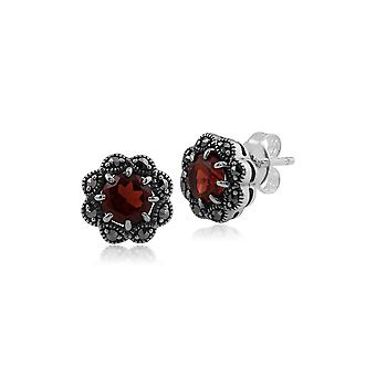 Floral Round Garnet & Marcasite Cluster Stud Earrings in 925 Sterling Silver 214E731505925