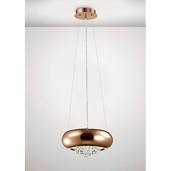 Hanging Lamp Phyllis Small 2 Bulbs G9 Polished Copper / Crystal