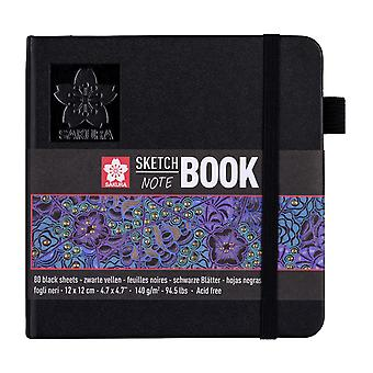 Sakura Sketch Note Book with 80 Sheets 12 x 12 cm (Black Paper)