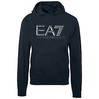 EA7 Blue Note Print Logo Hooded Sweatshirt