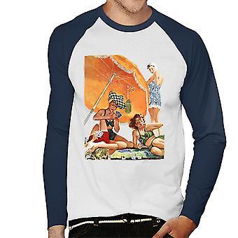 De zaterdagavond Post Card Game At The Beach Alex Ross Men's Baseball Long Sleeved T-Shirt