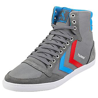 hummel Slimmer Stadil High Mens Casual Trainers in Grey Blue