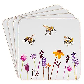 Set of 4 Busy Bumble Bees Laminated Coasters - Boxed Gift