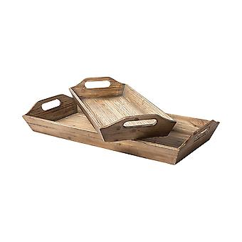 Set of 2 Natural Brown Wood With Grains And Knots Highlight Trays
