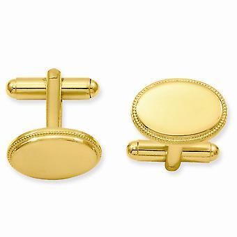 14k Guldpläterad Solid Polerad Graverbar (endast fram) Oval Pärl manschett länkar smycken gåvor för män