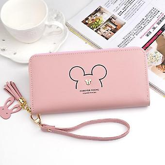 Disney Mickey Mouse Big Linda Wallet Lady Long Zipper Tassel Key Coin Purse