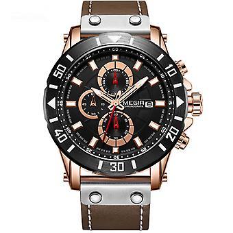 Mode sport timing leer wilde mannen's quartz horloge