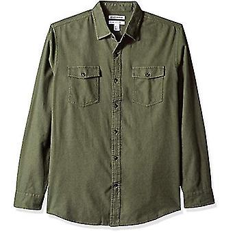 Essentials Herre's Regular-Fit Langermet Solid Flanell Skjorte, Olive Heather, X-Small