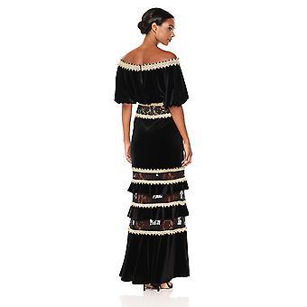 Tadashi Shoji Women's Velvet Off Shoulder Gown, Black/Gold, 12