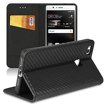 Book case with card compartment for Huawei P9 Lite Magnetic Lock Carbon Fiber TPU Wallet Black