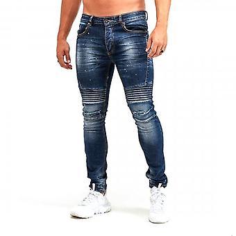 Glorious Gangsta Dimarni Slim Blue Wash Ripped & Repaired Biker Denim Jeans