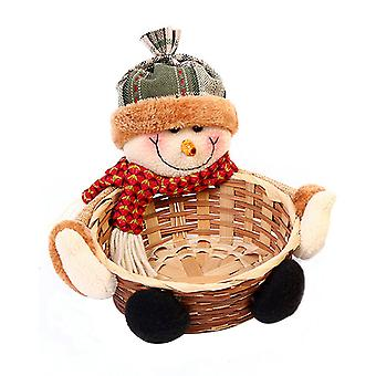 Karácsonyi Candy Storage Basket Gyümölcsök Konténer Snowman