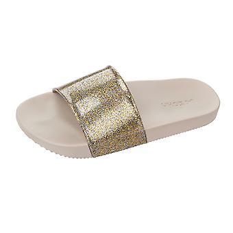 Womens Zaxy Sandals Snap Glitter Beach Slide / Flip Flop - Gold
