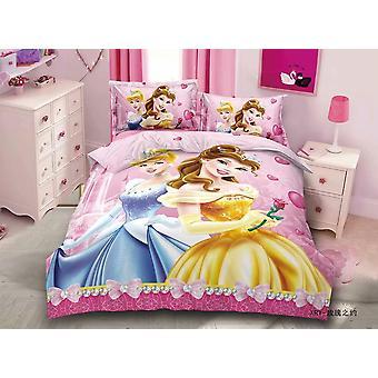 3d Printed Bedding Set, Frozen Elsa Anna Rapunzel Princess Girls  Single