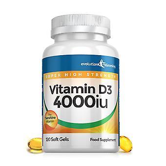 Vitamine D D3 4.000iu Super Strength Soft Gels - 120 Soft Gel Capsules - Vitamine Supplement - Evolution Slimming