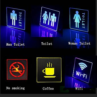 Ac Led Emergency Light Indoor Indicator Signal Sign Lamp Man Woman Toilet Wc No Smoking Wifi Exit Coffee Mark Advertising Light