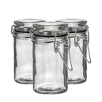 Argon Tableware Glass Storage Jars with Airtight Clip Lid - 70ml Set - Black Seal - Pack of 3