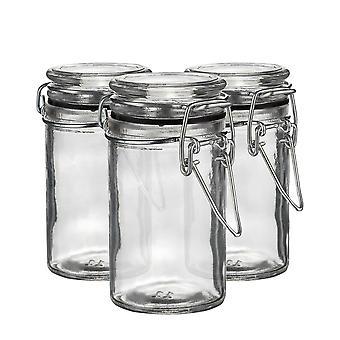 Argon Geschirr Glas Aufbewahrungsgläser mit luftdichten Clip Deckel - 70ml Set - schwarze Dichtung - Packung mit 3