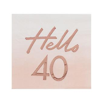 Hello 40th Birthday Paper Party Napkins Rose Gold x 16