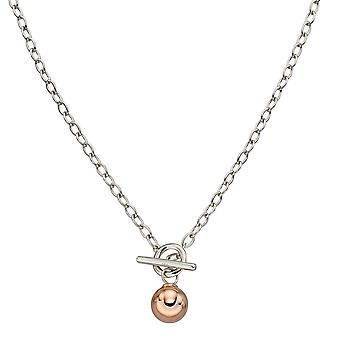 Fiorelli Zilver T-Bar Rose Gold Plated Sphere Ketting N4395