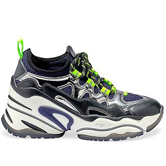 Damen Sneakers Ash Brid Schwarz blau und Silber mit Keil