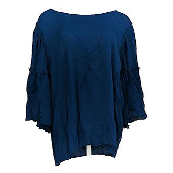 DG2 par Diane Gilman Women-apos;s Plus Top Ruffle-Sleeve 3/4 Sleeve Blue 655-287