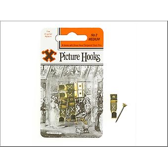 Shaw X Picture Hooks Brass Plated No.2 x 40 12886