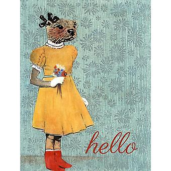 Hello Otter Illustrated Card